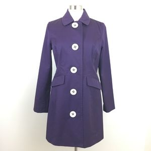 Boden Purple Trench Coat w/Large White Buttons - 8